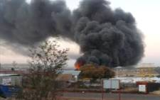 A factory fire in Industria North on the West Rand. Picture: Andries Peyper/ iWitness.