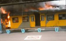Metrorail train fire at Cape Town Station. Picture: EWN.