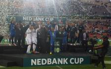 The new Nedbank Cup champions Supersport United at Peter Mokaba Stadium on 28 May, 2016. Picture Twitter @OfficialPSL.