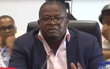 A screengrab of former Sassa CEO Thokozani Magwaza testifying at the Sassa inquiry on 26 January 2018.