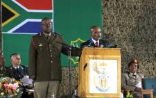 President Jacob Zuma addresses the memorial service at the Swartkop Air Force Base in Pretoria on 2 April, 2013 for the 13 SANDF soldiers killed in the CAR 2013. Picture: Sebabatso Mosamo/EWN