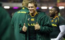 FILE: Former Springbok captain Jean de Villiers gives the thumbs up following a Test match. Picture: AFP