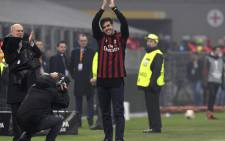 Former AC Milan player Kaka greets fans during the UEFA Europa League group D football match between AC Milan and FK Austria-Wiendur at the San Siro stadium in Milan on 23 November, 2017. Picture: AFP