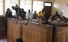 Pieter Doorewaard and Philip Schutte in the dock at Coligny Magistrat'e Court.  Picture: Kgothatso Mogale/EWN