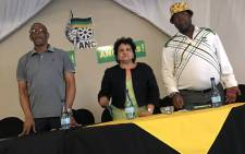 Premier of the Free State Ace Magashule (L) ANC Deputy Secretary General Jessie Duarte (C) at the ANC provincial general council on 28 November 2017. Picture: Twitter/@MYANC