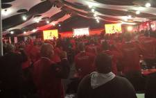 Delegates gathering at Boksburg for the National Union of Mineworkers national congress. Picture: Qaanitah Hunter/EWN.