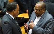 ANC Chief Whip Mothole Motshekga (right) speaks to Deputy President Kgalema Motlanthe. Picture: GCIS
