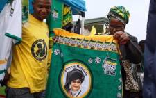 ANC supporters are purchasing regalia bearing the name and face of the late Winnie Madikizela-Mandela at an ANC memorial service. Picture: Ihsaan Haffejee/EWN