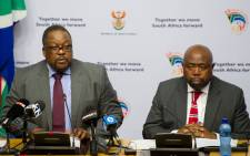 Police Minister Nathi Nhleko accompanied by Public Works Minister Thulas Nxesi giving an update on the Nkandla Project during the media briefing at Imbizo Media Centre in Cape Town on 28 May 2015. Picture: GCIS.