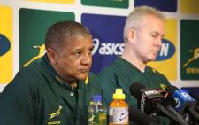 FILE: Springbok coach Allister Coetzee (left) addresses the media at a press briefing. Picture: Bertram Malgas/EWN