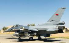 A handout picture provided by the Iraqi Air Force on 19 April 2018 shows a F16 fighter jet at an undisclosed location in Iraq. Picture: AFP