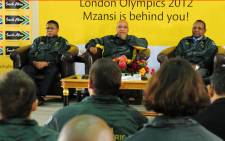 Sports Minister Fikile Mbalula with President Jacob Zuma and SASCOC President Gideon Sam during the SA Olympic team send off media briefing. Picture: GCIS.