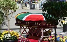 A view of Mama Winnie Madikizela-Mandela's coffin at Orlando Stadium, Johannesburg. Picture:  @SAgovnews/Twitter.