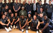 The players and Managers of the Manchester United Football Club visited former president Nelson Mandela to wish him a happy 91st birthday. Picture: Debbie Yazbek/Nelson Mandela Foundation