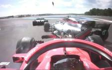 Ferrari's Sebastian Vettel crashes into Mercedes driver Valtteri Bottas at the start of the French Grand Prix on 24 June 2018. Picture: @F1/Twitter