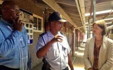 FILE: Commissioners Kate O'Regan and Vusi Pikoli speaking to Brigadier Dladla in Khayelitsha on 24 January 2014. Picture: Rahima Essop/EWN.