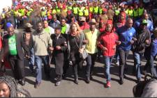 Leaders of opposition parties unite during a march in the Johannesburg CBD. Picture: Kgothatso Mogale/EWN