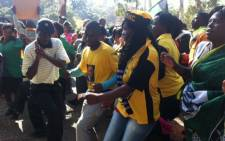 ANC members in support of President Jacob Zuma sing and dance in Zoo Lake, before marching to the Goodman Gallery in Rosebank, Johannesburg on 29 May, 2012. They are angry that the gallery exhibited a painting with the presidents genitals exposed. Picture: Gia Nicolaides/EWN