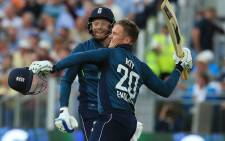 England's Jason Roy celebrates scoring a century against Australia during their ODI match at Chester-le-Street on 21 June 2018. Picture: AFP