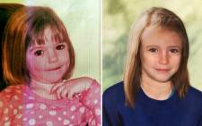 A combination of images created in 2012 shows an undated handout picture of missing British girl Madeleine McCann taken when she was three-years-old and a computer-generated handout showing an age progression picture of how police believe Madeleine would look now. Picture: AFP.