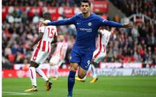 Chelsea's Alvaro Morata celebrates scoring their third goal. Picture: @ChelseaFC/Twitter.
