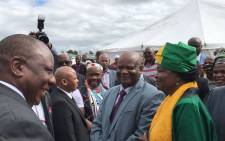 President Cyril Ramaphosa greets dignitaries in the hometown of the late Winnie Madikizela-Mandela ahead of a memorial service for the struggle icon. Picture: @MYANC/Twitter