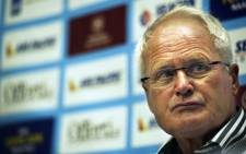 Dutch Foppe de Haan gives a press conference on May 27, 2011 in Schiphol after accepting an offer to coach the national team of the world's third smallest country, Tuvalu. Picture: AFP.
