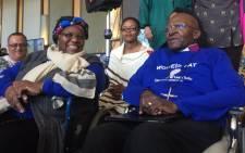 Archbishop Emeritus Desmond Tutu with his wife Leah at the Artscape Theatre in Cape Town. Picture: Kevin Brandt/EWN.