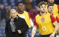 England manager Eddie Jones during the players warm up before the Rugby Six Nations match between Scotland and England at the Murrayfield stadium in Edinburgh, Britain, 6 February 2016. EPA/ROBERT PERRY.