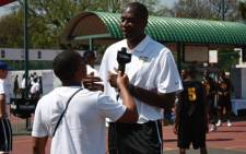Lelo Mzaca interviews NBA Legend & Global Ambassador Dikembe Mutombo in Johannesburg. Picture: EWN.