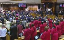 Members of the EFF disrupt proceedings at the State of the Nation Address on Thursday, 9 February 2017. Picture: YouTube  Screengrab