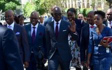 Finance Minister Melusi Gigaba and his team arriving at Parliament to deliver his 2018 budget speech at the National Assembly, Cape Town. Picture: GCIS
