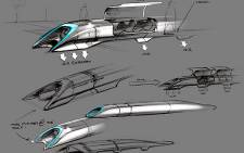 A handout photo released by Tesla Motors on 12 August 2013 shows the concept drawing of the Hyperloop transport design by Elon Musk. Reports say the system will be superfast with speeds of up to 1,150km/h. Picture: Tesla Motors/AFP
