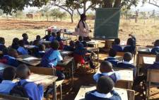 School children in Vuwani have classes outside after their schools in the area were torched in a protest. Picture: Pelane