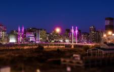 Pink light illuminate the Nelson Mandela Bridge in a cancer awareness drive run by the City of Johannesburg and Estee Lauder. Picture: Estee Lauder Twitter: @EsteeLauderSA/Twitter.