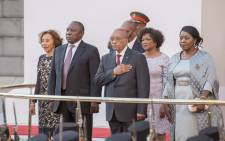 President Jacob Zuma sings the national anthem ahead of his State of the Nation Address (Sona) on 11 February 2015. Picture: Aletta Harrison/EWN.