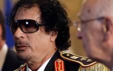 """Ousted Libya president Muammar Gaddafi."""""""