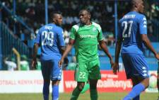 SuperSport United players defend against their Gor Mahia opponent. Picture: @SuperSportFC/Twitter