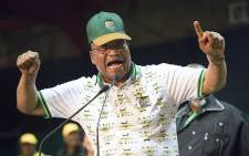 FILE: Former ANC president Jacob Zuma sings at the ANC's 54th national conference on 18 December 2017. Picture: Sethembiso Zulu/EWN.