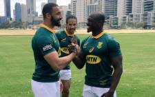 Springbok players Uzair Cassiem (left), Raymond Rhule (right) and Courtnall Skosan. Picture: @Springboks/Twitter