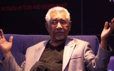 Presidential spokesperson Mac Maharaj switched seats with EWN reporter Stephen Grootes at the launch of his new book 'SA Politics Unspun' on Tuesday 29 October.  Picture: Christa van der Walt/EWN