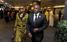 Democratic Republic of Congo President Joseph Kabila and his wife arriving at FNB Stadium ahead of Nelson Mandela memorial. PIcture: GCIS.