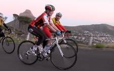 Western Cape Premier Helen Zille on an early morning training session ahead of the Cape Argus Cycle Tour. Picture: EWN
