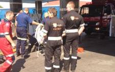 One man has died and another is in a critical condition after they fell into a petrol tank in Boksburg, east of Johannesburg, this morning. It is believed the two men were doing a maintenance check at the petrol station. Picture: Emer-G-Med