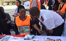 Western Cape Health MEC Nomafrench Mbombo visits a make-shift clinic outside the Cape Town train station Picture: Monique Mortlock/EWN.