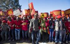 During an EFF march, a Coligny resident holds up a sunflower which, according to residents, represents the sunflower 16 year-old Matlhomola Moshoeu allegedly stole before he died. Picture: Reinart Toerien/EWN