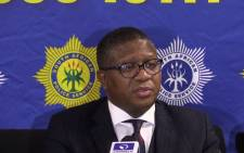 Police Minister Fikile Mbalula speaking at the OR Tambo International Airport. Picture: EWN