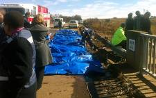The dead bodies of passengers after a tragic bus crash in Meyerton Johannesburg. Picture: Theo Nkonki/EWN