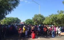 FILE: Members of the EFF student command attempted to prevent students from entering the TUT Pretoria west campus, but they pushed through with the help of the police. Picture: Barry Bateman/EWN.