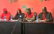 The EFF's Student Command gives a briefing on 4 January, 2018. Picture: Katleho Sekhotho/EWN